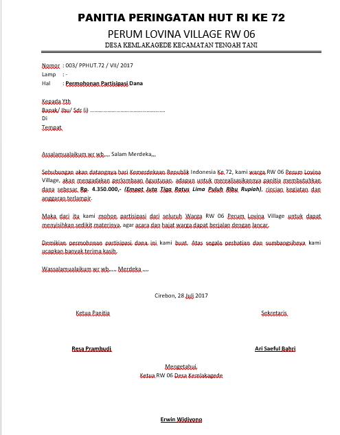 Contoh Surat Permohonan Bantuan Dana Kegiatan Www Bilderbeste Com