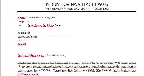 Contoh Surat Permohonan Bantuan Dana Dan Proposal Kegiatan Hut Ri