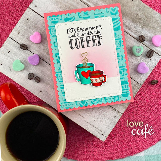 Coffee Valentine card by Jennifer Jackson | Love Café Stamp Set, Framework Die Set and Mugs Stencil by Newton's Nook Designs