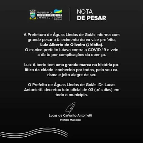 DECRETO N° 2538/2021 DECRETA LUTO OFICIAL NO MUNICÍPIO EM VIRTUDE DO FALECIMENTO DO SENHOR LUIZ ALBE
