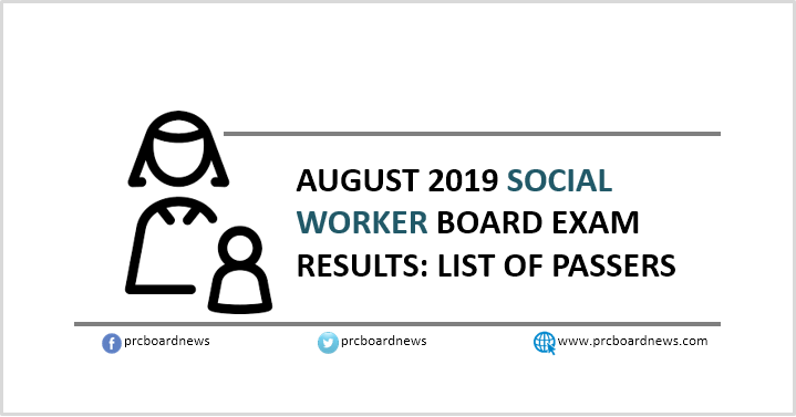 RESULT: August 2019 Social Worker board exam list of passers
