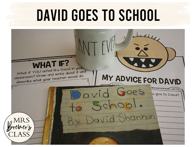 David Goes to School book study companion activities for back to school K-1