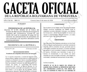 Gaceta Oficial Extraordinaria Nº 6522 Decreto suspensión de pago alquileres de locales, oficinas, entre otros. (Arrendamiento)