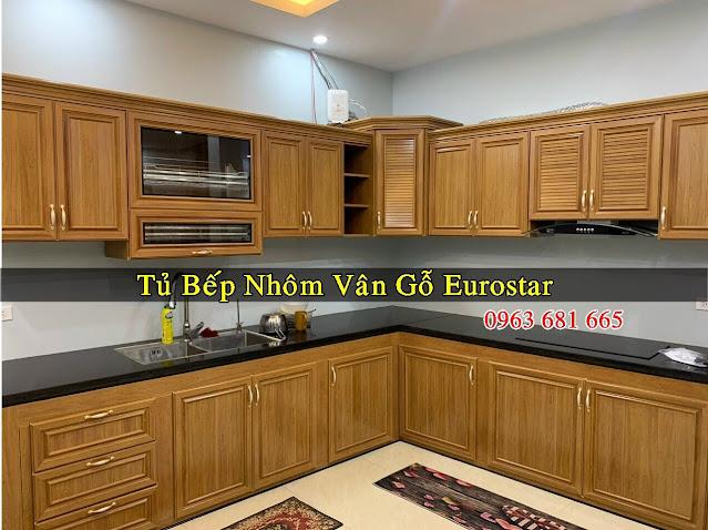 Mẫu tủ bếp nhôm vân gỗ đẹp Eurostar