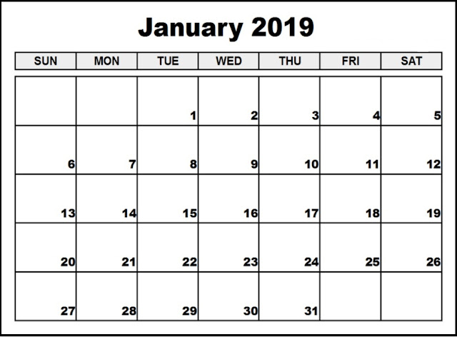 Printable Calendar 2019 January
