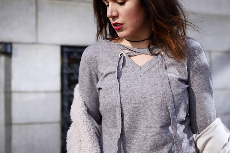 Le Chateau lace up sweater vancouver fashion blogger cute winter outfit