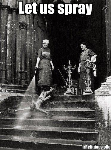 Let us spray - woman cleaning church and hosing down Jesus on the cross