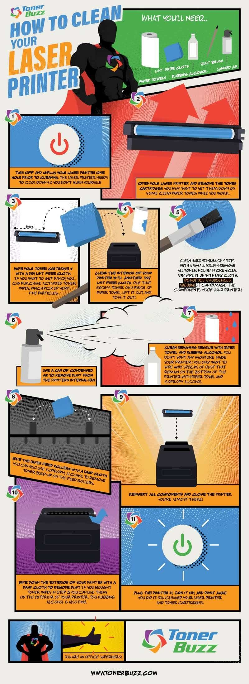 How to Clean Your Laser Printer and Toner Cartridges #infographic