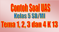 Contoh Soal Kelas 5 SD/MI K-13 Tema 1, 2, 3 dan 4