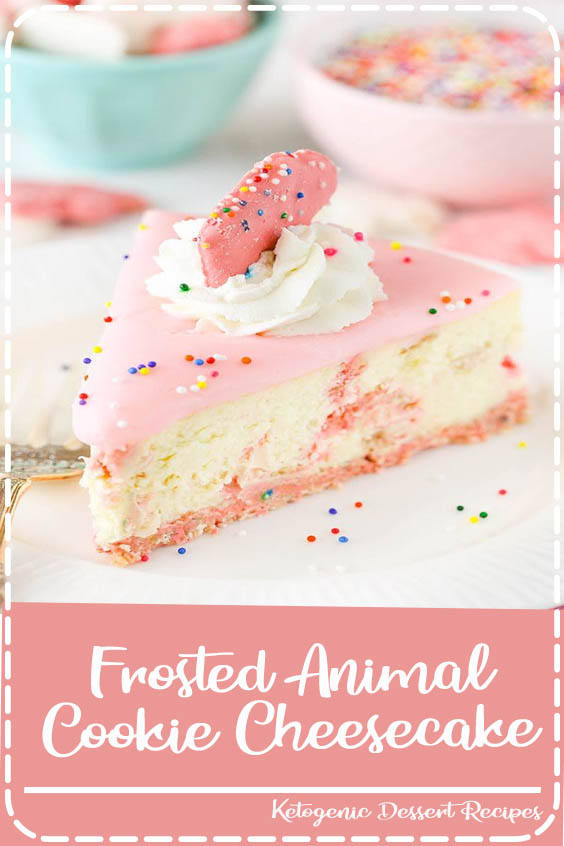 This Frosted Animal Cookie Cheesecake has frosted animal cookies in the crust and through Frosted Animal Cookie Cheesecake
