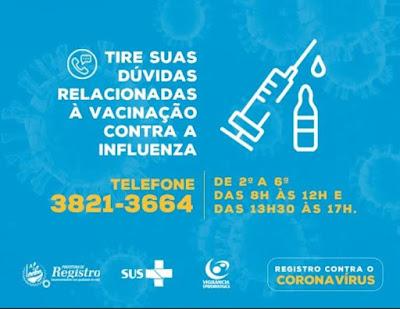 Tire suas dúvidas sobre a Vacinação contra a Influenza por telefone