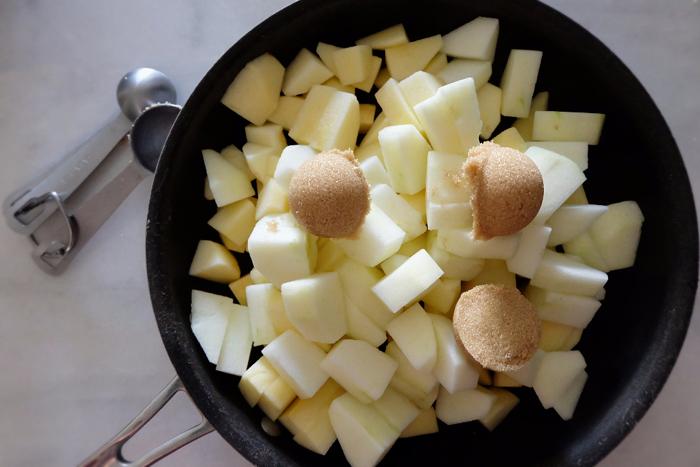 preparing to saute apples with brown sugar