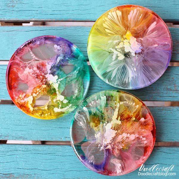 Petrified Rainbow coasters using Easy Cast resin and Alcohol ink drips