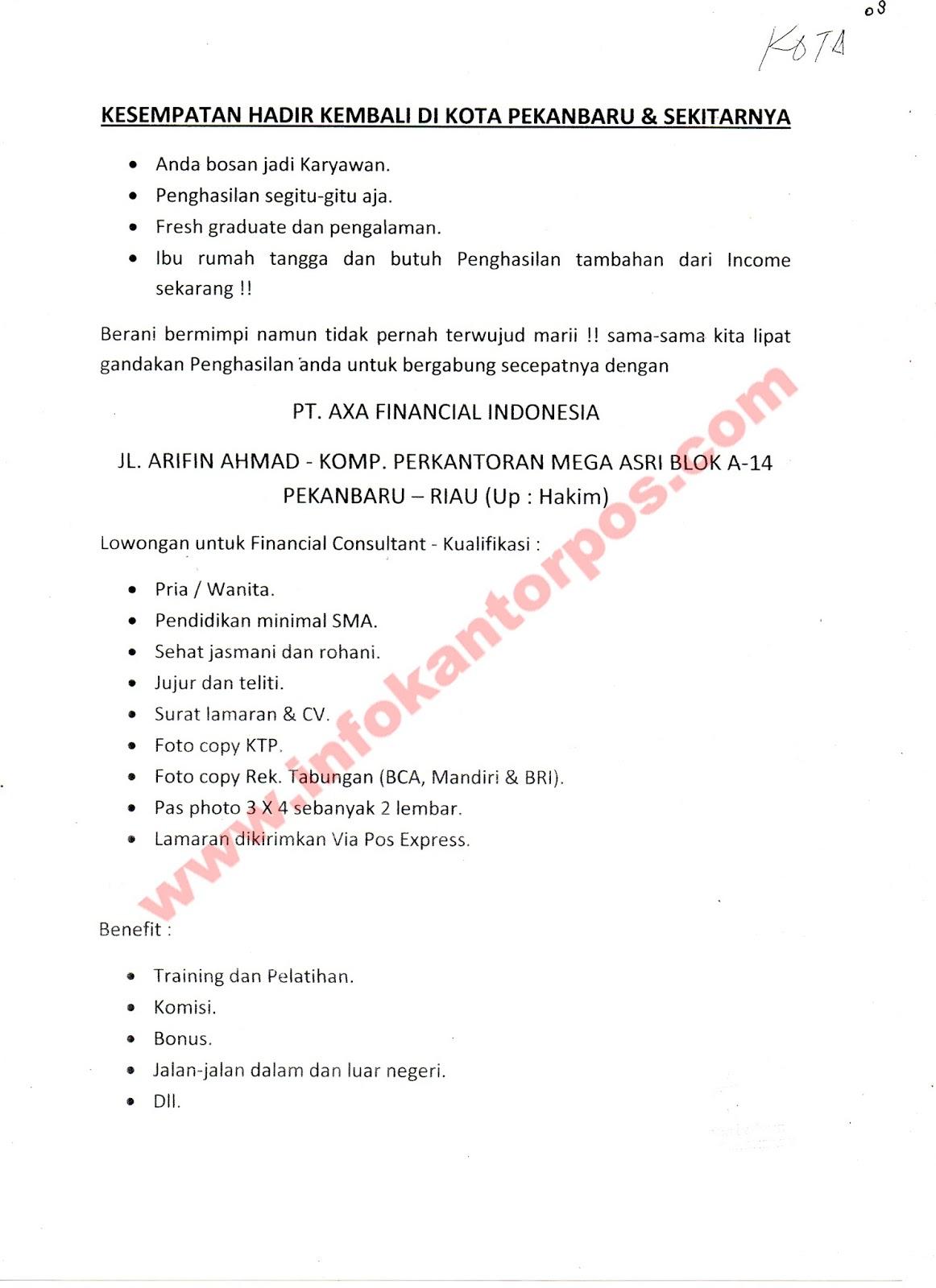 Lowongan Kerja Pt Axa Financial Indonesia Juli 2017 Www Infokantorpos Com
