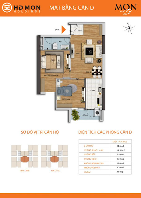 Căn hộ D diện tích 54m2 với thiết kế 02 phòng ngủ