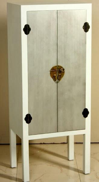 armario oriental blanco y plata, armario chino