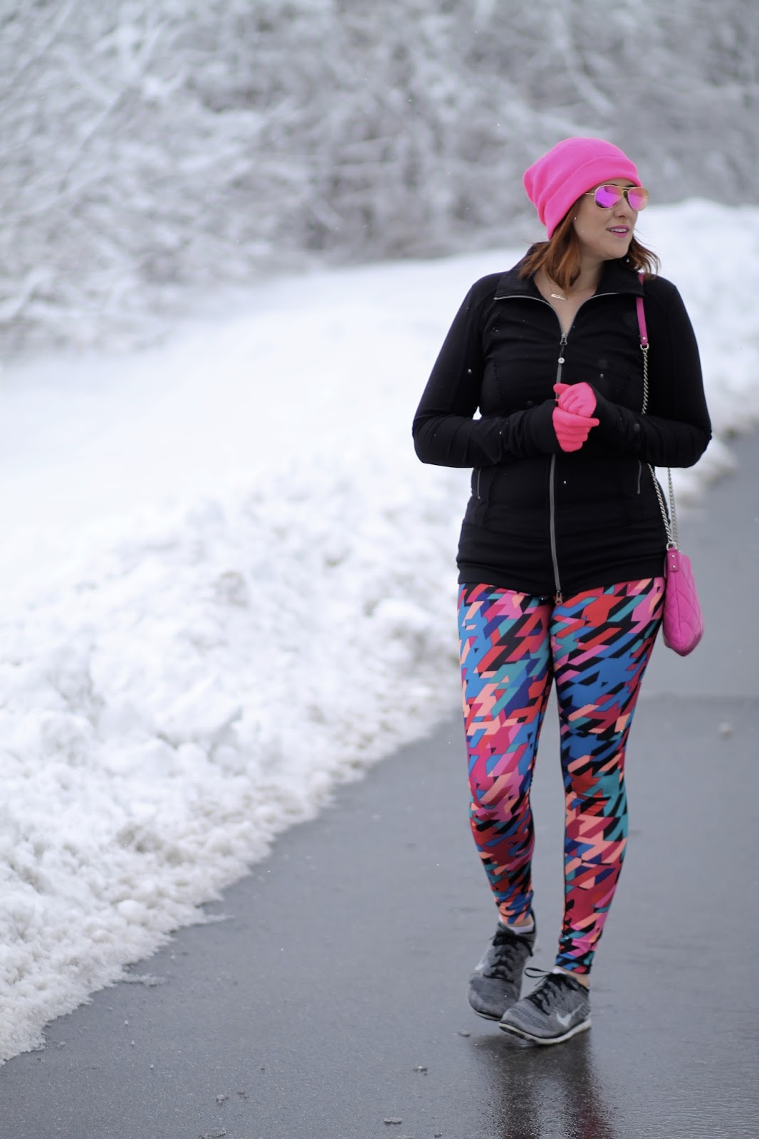 Nordstrom workout leggings from zella in fun patterns and prints, kate spade pink bag, purse, pink raybans, and nike flyknit free
