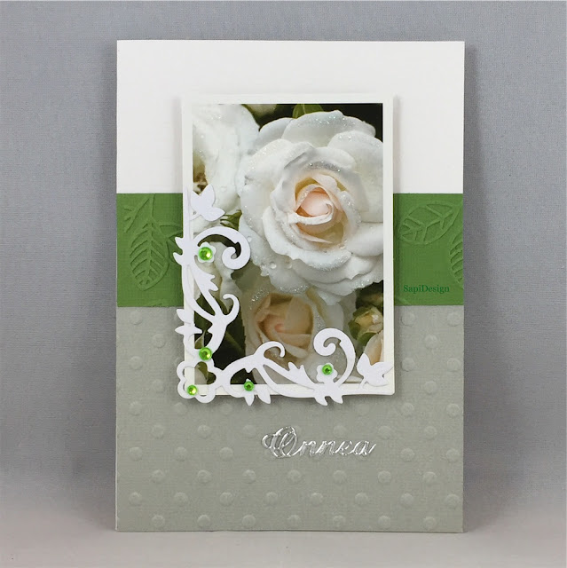 roses champagne lace green card SapiDesign