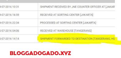 shipment forwarded to destination