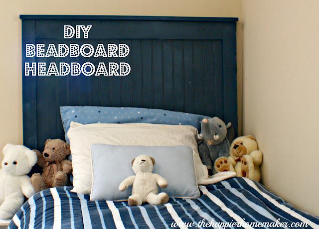 DIY blue bead board headboard