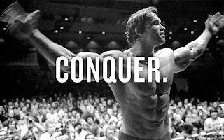 Arnold Schwarzenegger conquer pose