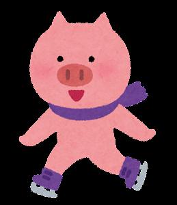 アイススケートをする動物のキャラクター(ブタ)