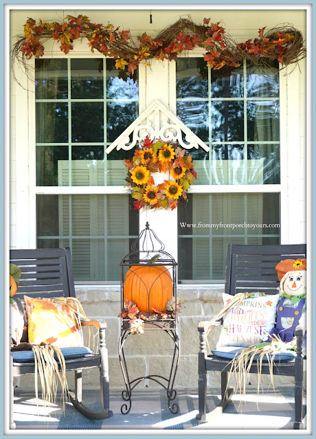 Farmhouse Cottage Style Fall Front Porch-Grapevine Garland-From My Front Porch To Yours