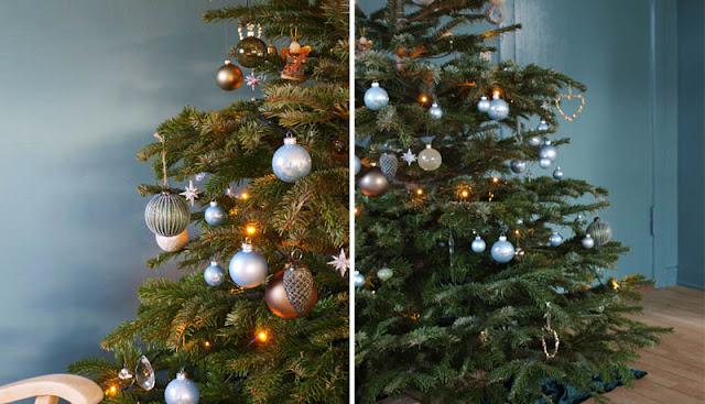 Elegant juletræ i tone i tone af grønt