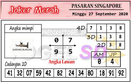 Pred Joker Merah SGP Minggu 27 September 2020