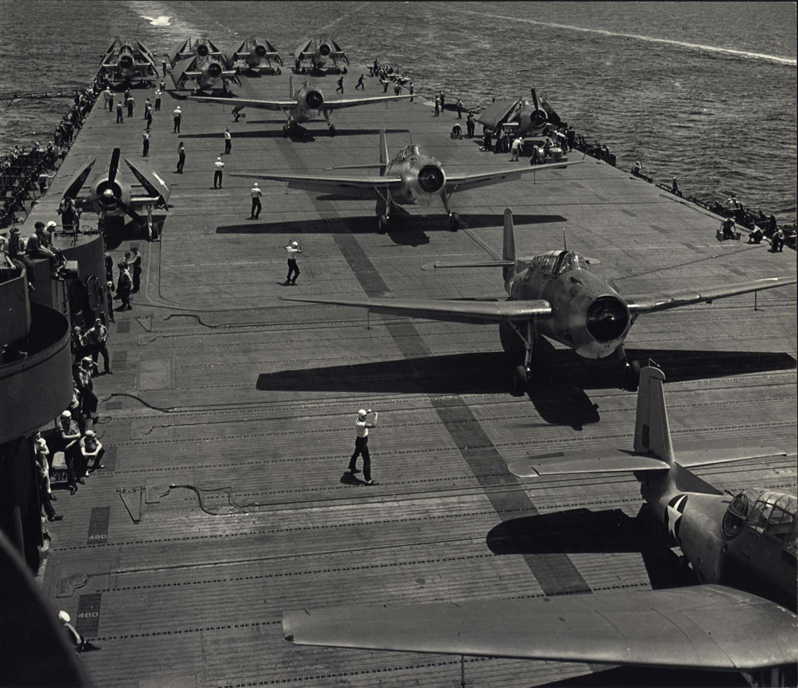 Aircraft's preparing for take off from U.S.S. Yorktown, ca. 1943.
