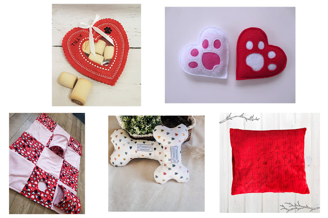 A selection of Valentine-themed toys for dogs, cats, and ferrets. An artisan Valentine's guide.