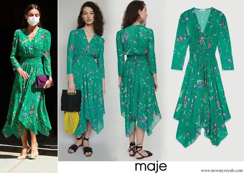 Queen Letizia wore Maje Floral print dress