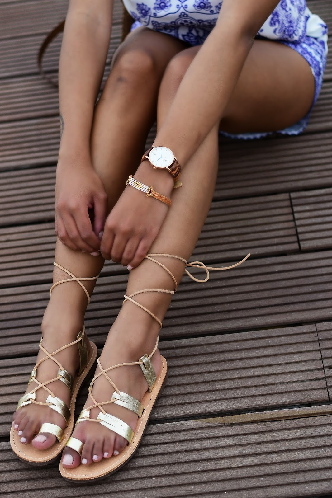 what to wear in Santorini- gold gladiator sandals