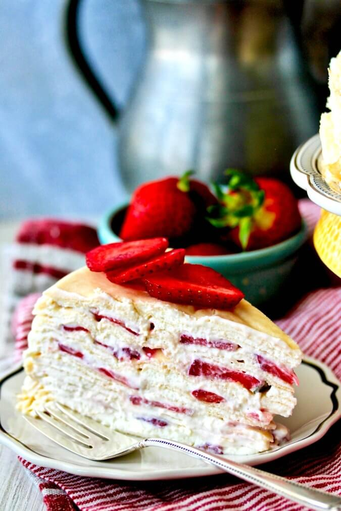 Strawberries and Cream Crêpe Cake