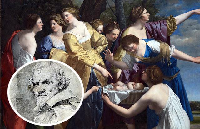 """pintura de Orazio Gentileschi """"A descoberta de Moisés"""""""