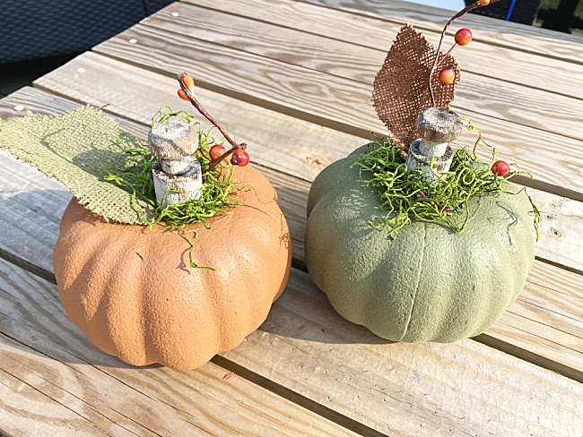 orange and green suede pumpkins with peg stems