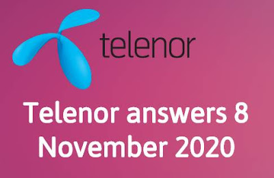 Telenor Quiz 8 November 2020 || Telenor answers 8 November 2020