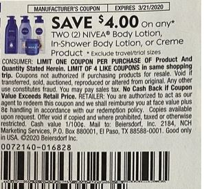"""$4.00/2 Nivea Body Lotion, In-shower Body Lotion, Or Creme Product Coupon from """"SMARTSOURCE"""" insert week of 3/8/20."""