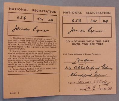 National Identity Card (forged) found in the possession of German spy, Josef Jakobs. (held at National Archives, Kew)