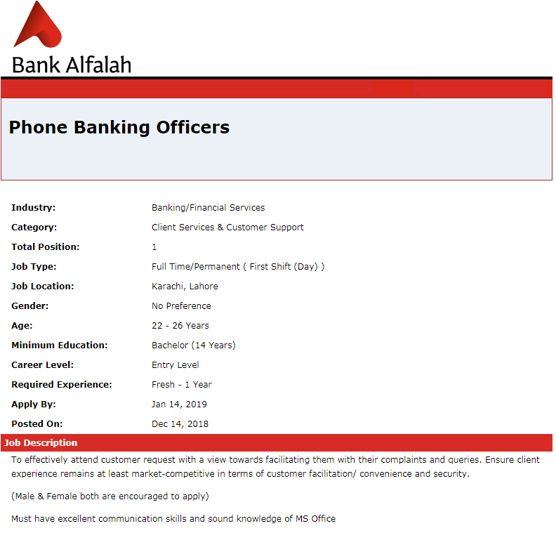 Bank Alfalah Jobs, Bank Alfalah Jobs 2019, Bank Al falah Current Job Openings | Phone Banking Officers