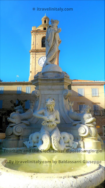 I Travel in Italy introduce; Fountain and the Clock Tower @portosangiorgio Copyright All rights reserved © By itravelinitaly.com travelers from Italy Photo OnGoogleMaps by Baldassarri Giuseppe Visual Storytelling .