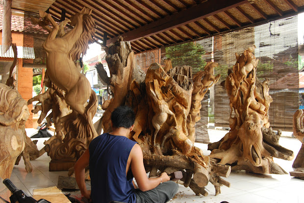 Java Travelling Balinese Wood Masks And Sculpture Crafts Village Mas Bali