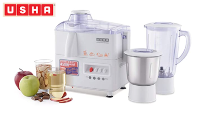 Usha 3345 450-Watt Juicer Mixer Grinder to Achieve Multiple Culinary Tasks Quickly and Easily