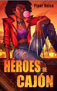 Ilustración de la novela: mujer negra de cabello suelto masticando goma de mascar, chaqueta roja, vaqueros desgastados y uñas largas, sentada en pose rebelde