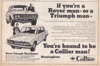 Colliers, Birmingham Autocar advert 19 October 1974