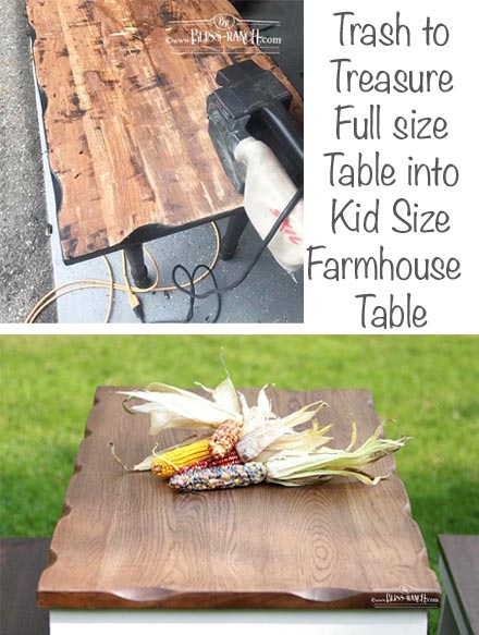 Farmhouse Kid size Table Before After Bliss-Ranch.com