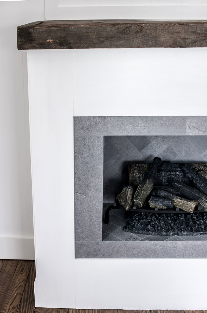 Logs inside fake fireplace