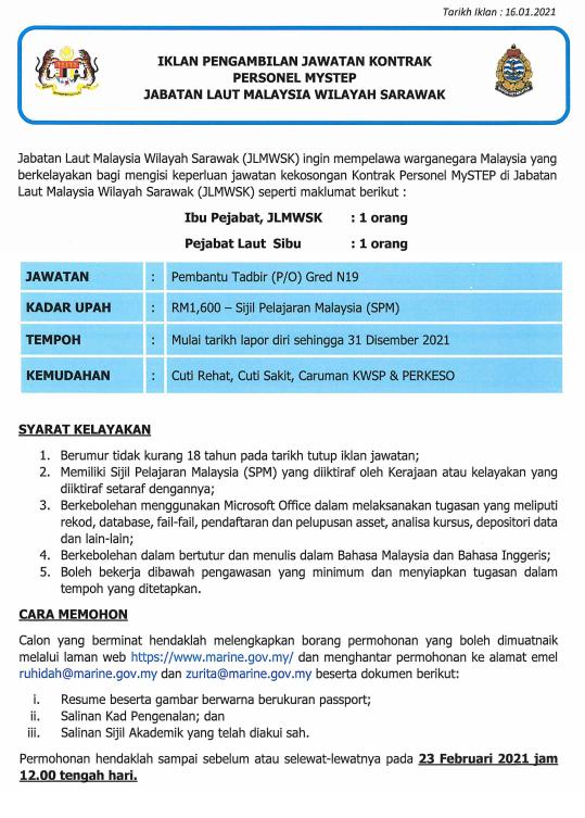 Iklan Pengambilan Jawatan Personel MYSTEP Jabatan Laut Sarawak