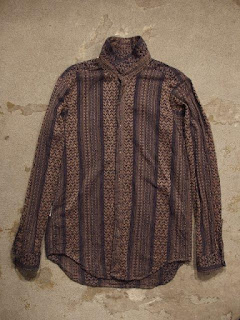 "Engineered Garments ""Short Collar Shirt & Camp Shirt in Khaki/Navy Multi St. Jacquard"""