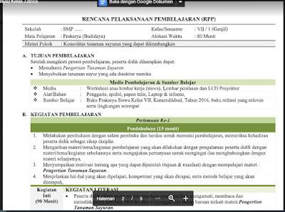 Download RPP Prakarya (Budidaya) Kelas 7 Semester 1